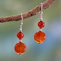 Carnelian dangle earrings, 'Delhi Summer' - Carnelian dangle earrings