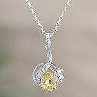 Citrine flower necklace, 'Golden Blossom' - Sterling Silver and Citrine Necklace Fair Trade Jewelry