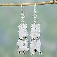 Moonstone waterfall earrings, 'Rejoice' - Sterling Silver and Moonstone Waterfall Earrings