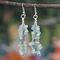 Aquamarine waterfall earrings, 'Rejoice' - Aquamarine Earrings Hand Made with Sterling Silver
