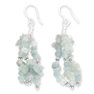 Aquamarine Earrings Hand Made with Sterling Silver