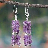 Amethyst waterfall earrings, 'Rejoice' - Indian Amethyst Earrings Hand Made with Sterling Silver