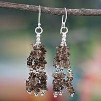 Smoky quartz waterfall earrings, 'Rejoice' - Smoky quartz waterfall earrings