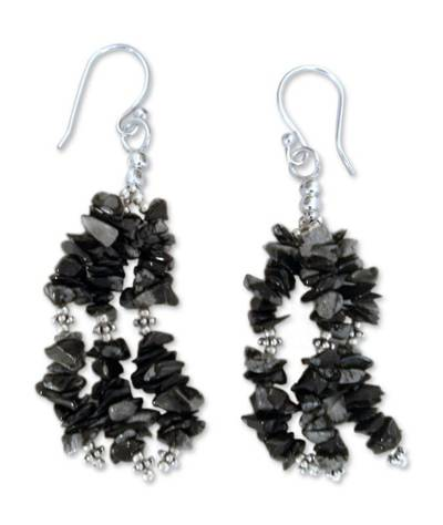 Indian Obsidian Earrings Hand Made with Sterling Silver