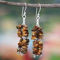 Tiger's eye waterfall earrings, 'Rejoice' - Tigers Eye and Sterling Silver Hand Made Earrings