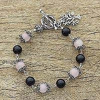 Rose quartz and onyx beaded bracelet, 'Lucky Money Tree' - Sterling Silver Beaded Onyx and Rose Quartz Bracelet