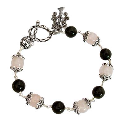 Sterling Silver Beaded Onyx and Rose Quartz Bracelet