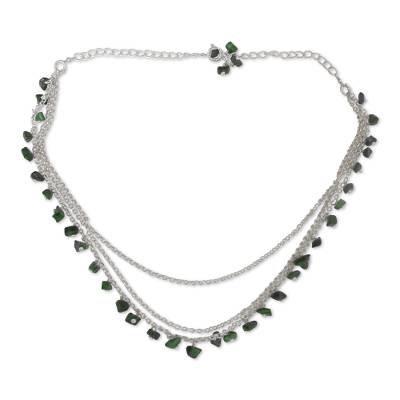 Sterling Silver and Malachite Waterfall Necklace