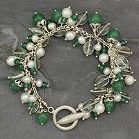 Pearl and aventurine cluster bracelet, Lifes a Holiday