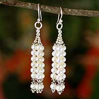 Pearl waterfall earrings, 'Goddess of Purity' - Pearl Waterfall Earrings