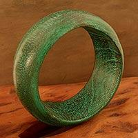 Wood bangle bracelet, 'Green India'