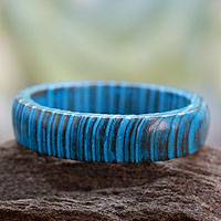 Wood bangle bracelet, 'Delhi Skies' - Hand Crafted Mango Wood Bangle Bracelet