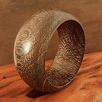 Wood bangle bracelet, 'Gujurat Chic'