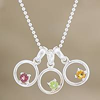 Citrine and peridot pendant necklace, 'Tropical Trio' - Silver Multigem Pendant Necklace