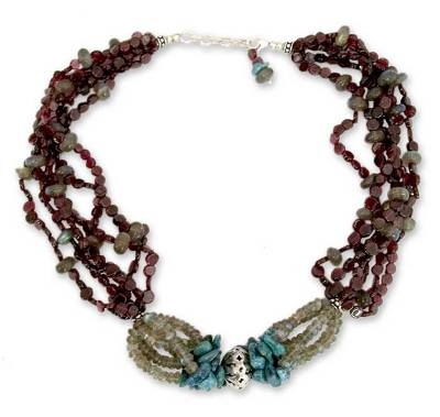 Garnet and labradorite beaded necklace