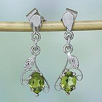 Peridot dangle earrings, 'Precious One' - Peridot dangle earrings