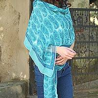 Silk shawl, 'Chennai Garden' - Floral Silk Women's Blue Shawl Wrap