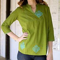 Cotton blouse, 'Goa Green' - Collectible Women's Cotton Embroidered Blouse Top