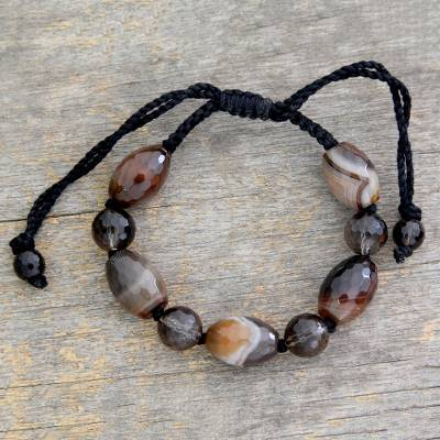 Smoky quartz and agate beaded bracelet, 'Indian Tiger' - Smoky Quartz and Agate Bracelet from Beaded Jewelry