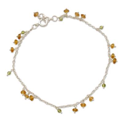 India Ankle Jewelry Sterling Silver and Citrine Anklet