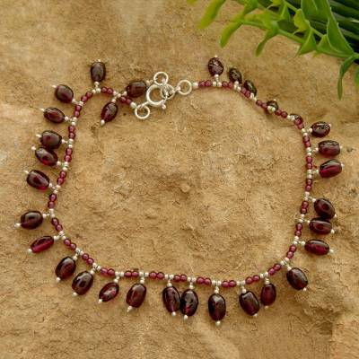 Garnet beaded anklet, 'Crimson Dancer' - Ankle Jewelry from India with Natural Garnet