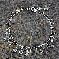 Pearl and citrine anklet, 'Light of Kanpur' - Indian Sterling Silver Pearl and Citrine Anklet