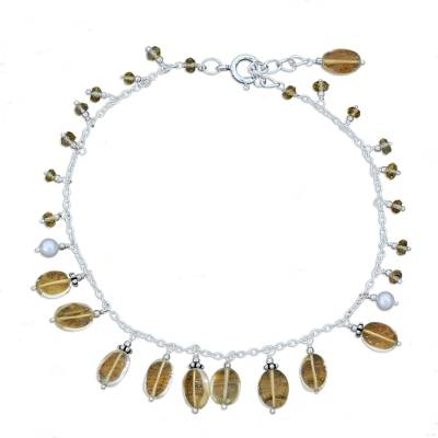 Indian Sterling Silver Pearl and Citrine Anklet