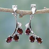 Garnet flower earrings, 'Bright Blossoms' - Sterling Silver and Garnet Earrings Artisan Jewelry