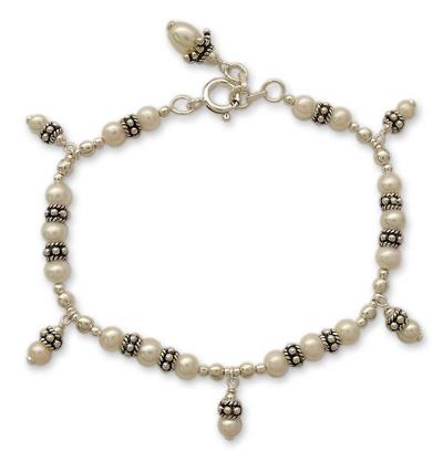 Sterling Silver Beaded Pearl Bracelet