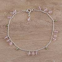 Rose quartz and peridot anklet,