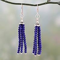 Lapis lazuli waterfall earrings, 'Temple Chimes' - Lapis Lazuli Waterfall Earrings