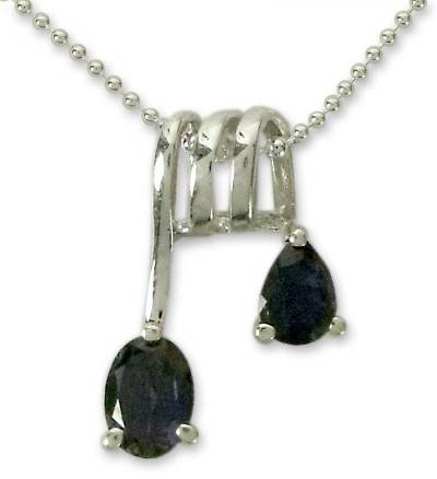 Hand Made Sterling Silver and Iolite Modern Necklace