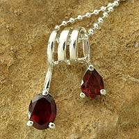 Garnet pendant necklace, 'Hypnotic Fantasy' - Garnet and Silver Necklace
