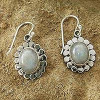 Moonstone flower earrings, 'Radiant Petals' - Floral Sterling Silver and Moonstone Earrings