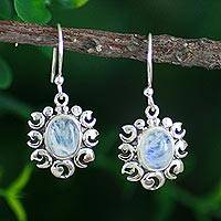 Rainbow moonstone dangle earrings, 'Fire Goddess'