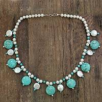 Pearl beaded necklace, 'Ocean Dancer' - Pearl beaded necklace
