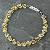 Citrine tennis bracelet, 'India Delight' - Sterling Silver Tennis Style Citrine Bracelet from India