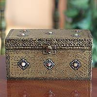 Brass jewelry box, 'Mughal Treasure Chest' - Handcrafted Repousse Brass Jewelry Box