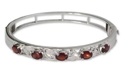 Silver and Garnet Bangle Bracelet