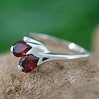 Garnet floral ring, 'Rose of Love' - Artisan Crafted Garnet and Silver Ring