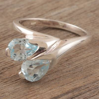 silver ring cost - Handcrafted Blue Topaz and Silver Ring