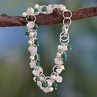 Pearl and rose quartz bracelet, 'Delhi Delight' - Pearls and Gems Bracelet with Sterling Silver