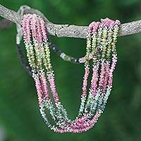 Tourmaline torsade necklace, 'Wondrous India' - Tourmaline torsade necklace