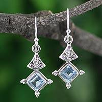 Blue topaz earrings, 'Tanjore Sky' - India Style Jewelry Blue Topaz and Sterling Earrings