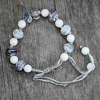 Beaded wristband bracelet, 'Gray Constellation'