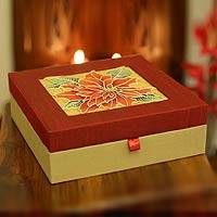 Jewelry box, 'Rajasthani Poinsettia' - Jewelry box