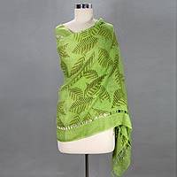 Linen shawl, 'Green Leaf Shadows' - Handcrafted Leaf and Tree Linen Painted Shawl