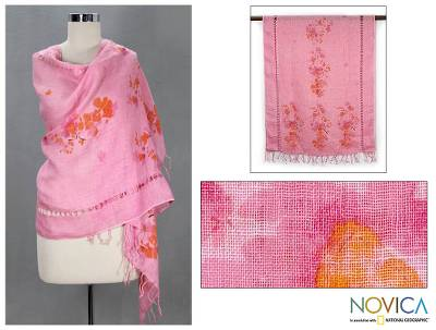 Linen shawl, 'Cherished Rose' - Linen Shawl Floral Wrap from India