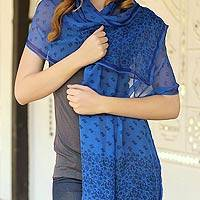Silk shawl, 'Brindavan Bluer' - Fair Trade Floral Silk Shawl Handcrafted Wrap