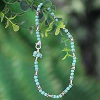 Sterling silver anklet, 'Dreams' - Sterling Silver Beaded Turquoise coloured Anklet